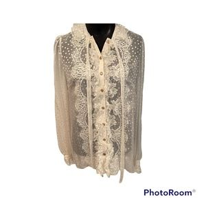 Dolce & Gabbana Ivory Silk Blouse with lace and ruffle detail (New)